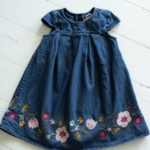 Floral Embroidered Denim Dress with Cap Sleeves